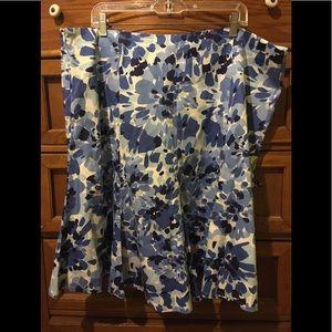 Lane Bryant blue and white floral skirt